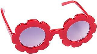 نظارات شمس صيفية لطيفة للأطفال الصغار بإطار بلاستيكي نظارات زهور نظارات شمس للأطفال الصغار إكسسوارات الشاطئ (أحمر، مقاس واحد)