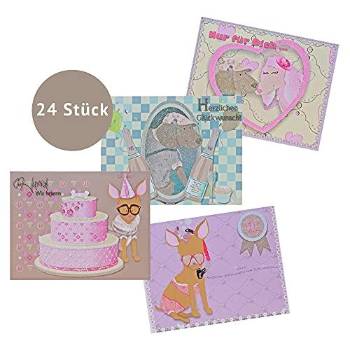 Caja expositora para tarjetas con purpurina.