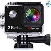 "Action Camera, Sports Camera Gizcam GZ10 Plus Underwater Camera 1080P 12MP 173 Degree Wide Angle Lens WiFi 2.0"" Action Cam with 2 Batteries and Accessories Kits for Bike Motorcycle Diving Skiing"
