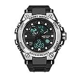 Trend Reloj Militar Multifuncional Reloj De Las Fuerzas Especiales Reloj Electrónico De Deportes Al Aire Libre Luminoso Impermeable con Pantalla Dual para Hombres Negro y Plata