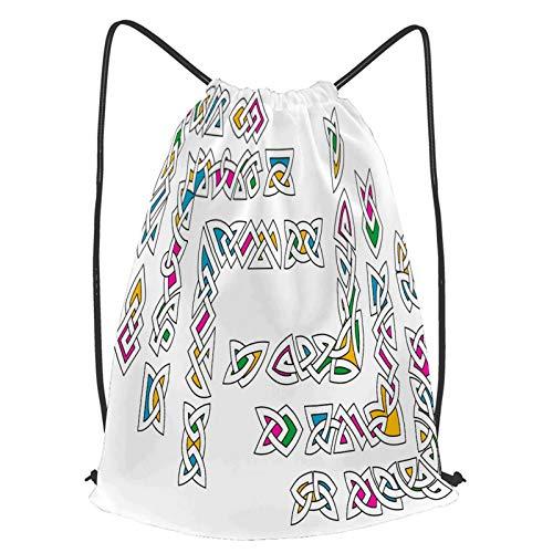 fudin Impermeable Bolsa de Cuerdas Saco de Gimnasio coloridos patrones celtas Deporte Mochila para Playa Viaje Natación