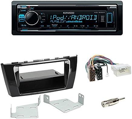 JVC KD-R891BT CD Autoradio Rund-Pin BMW Mini  Blende schwarz ISO-Adapter-Set