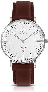 Gelfand & Co. Unisex Minimalist Watch Dark Brown Leather Ludlow 40mm Silver with White Dial