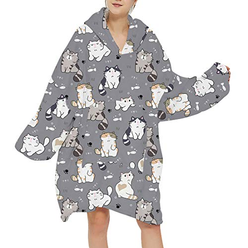 Manooby Oversized Hoodie Sweatshirt Blanket Cute Cartoon Print Wearable Fleece Pullover Front Pocket Soft Warm Homewear(H-kitty ,F)