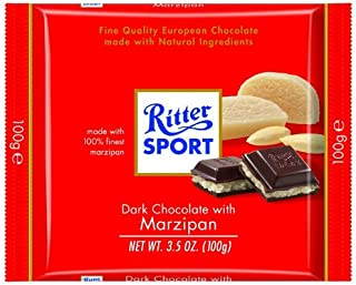 Ritter Sport Bars, Dark Chocolate with Marzipan, 3.5 Ounce (Pack of 12)