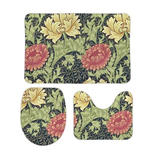 hengshu William Morris Chrysanthemum Floral Spring Design 3 Piece Bathroom Rug Set Bath Mat Shower Rug, U Shaped Contour Mat, Lid Cover Non-Slip with Rubber Backing Mats for Tub Shower 15.7inx23.6in
