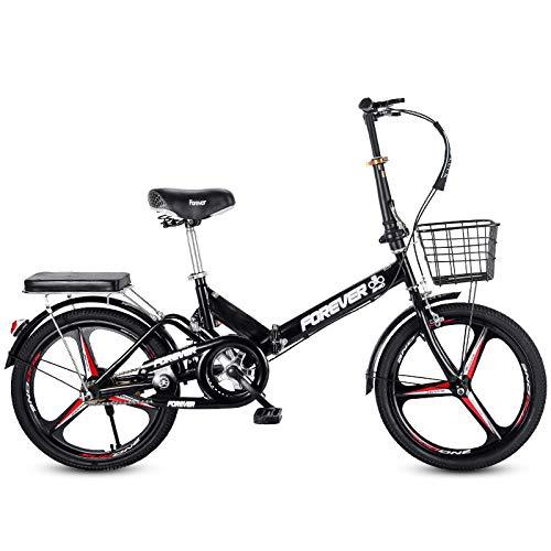 LHR Klapprad, 16-zoll-20-zoll-mini-fahrrad Mit Variabler Geschwindigkeit, Kleines Rad, Integrierter Reifen, Geeignet Für Erwachsene Schüler, Jugendliche,2black,16inch