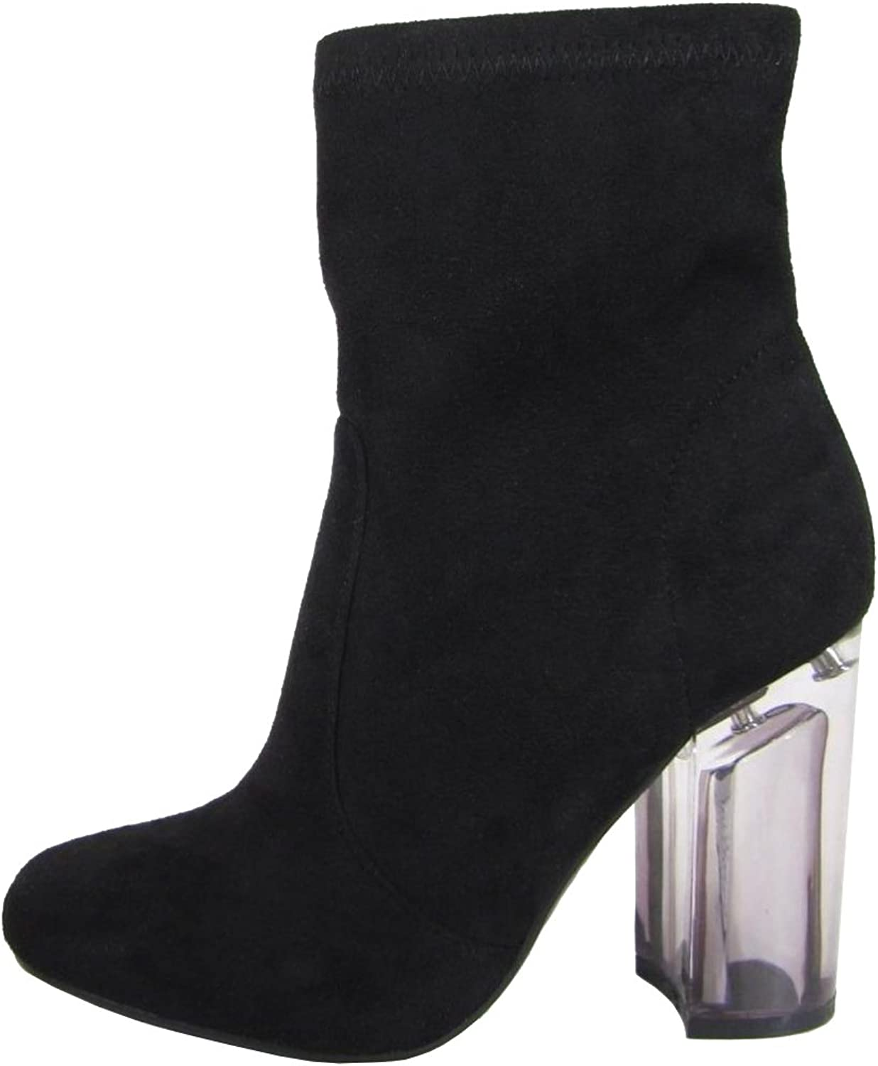 Speed Limit 98 Women's Closed Toe Faux Suede Chunky Clear Perspex Heel Ankle Bootie, Clay, 10 M US