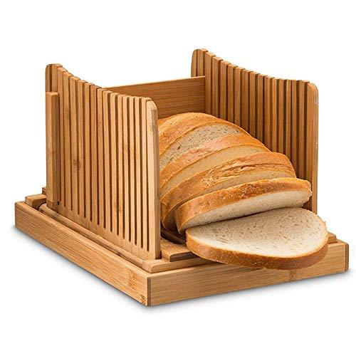 LZWNB Bambusbrotschneider für hausgemachtes Brotlaib, Brotlaibschneidemaschine mit Krümelschale, Brotlaibschneider für Laibkuchen