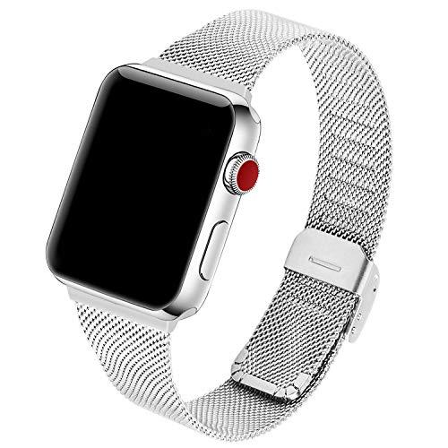 GerbGorb Edelstahl Mesh Apple Watch Armband Kompatibel für iWatch 38mm 40mm, Uhrenarmband für Apple Watch Series 5/4/3/2/1, (38mm/40mm Silber