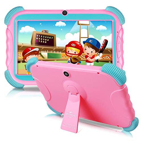 7 inch Kids Tablet Android 8.1 IPS HD Screen 2GB+16GB Babypad Edition PC with WiFi and Camera and Games Google Play Store Bluetooth Kids-Proof Case GMS Certified with Charger-Pink