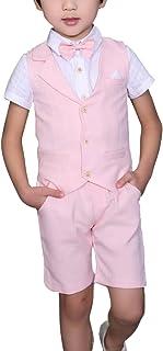 YUFAN Boys Plaid Summer Suits Vest Set 3 Pieces Shirt Vest and Pants Set 3 Colors