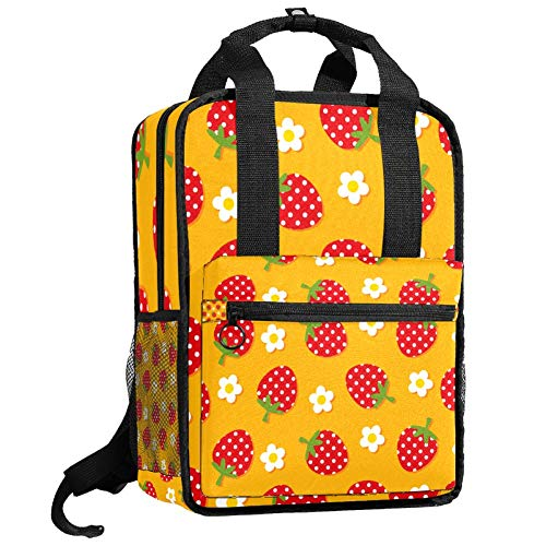 Mochila de viaje para ordenador o estudiante, bolso de mano informal, regalo para hombres y mujeres, diseño de fresa