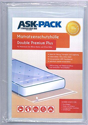 ASK Pack Premium Matratzenschutzhülle Double für bis zu 180cm breite / 25cm hohe / 220cm Lange Matratze - mit vielfach wiederverwendbarem KLEBEVERSCHLUSS - Ultra stark 120µ