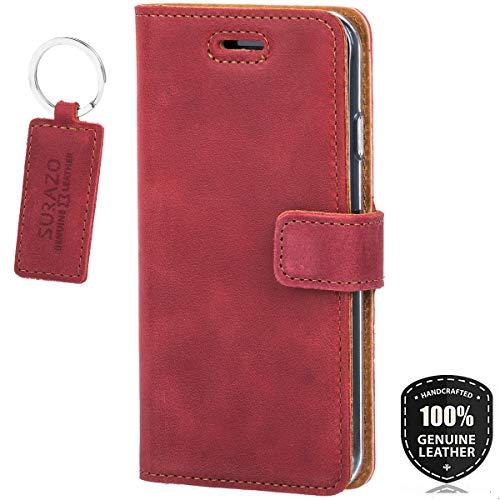 SURAZO Premium Vintage Ledertasche Schutzhülle Standfunktion Wallet Hülle aus Echtesleder Nubukleder Farbe Rot für Huawei Mate 10 PRO