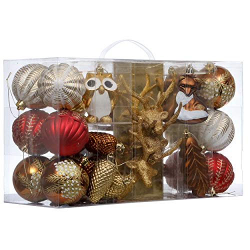 Valery Madelyn 80ct Woodland Shatterproof Christmas Ball Ornaments Decoration Red Brown for Christmas Tree Decorations, Themed with Tree Skirt(Not Included)