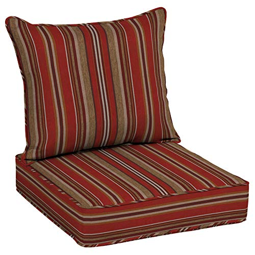allen + roth 2-Piece Priscilla Stripe Red Deep Seat Patio Chair Cushion, Set of 2