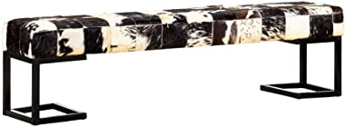 FAMIROSA Banc 160 cm Noir Patchwork Cuir Véritable de Chèvre