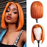 Lace Front Human Hair Wigs Layered Hair Bob Cut Lace Wig Pre Plucked Hairline Full End 150% Density Brazilian Straight Wigs Bleached Knots 10' Orange Color