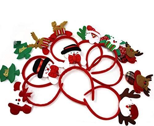 THE TWIDDLERS 8 Diadema de Navidea para Nios y Adultos| Cmodo y Reutilizable rbol de Navidad, Mueco de Nieve, Reno y Pap Noel| Gorro Disfraz de Navidad Clsico para Fiestas.