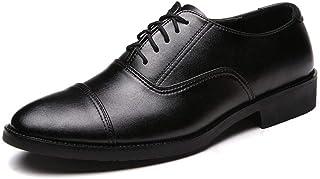 CAIFENG Negocio Formal Oxford para Hombres Moda Vestido de Ocio Zapatos Lace-up Cuero Genuino Redondo Tallón Plano Talón d...