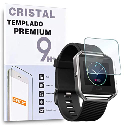 REY Protector de Pantalla para Fitbit Blaze, Cristal Vidrio Templado Premium