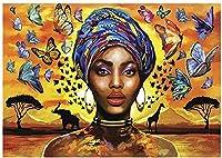 大人のためのアフリカの女の子のダイヤモンド絵画キット5DフルドリルDIYアート&クラフトアートワークの装飾ギフトセットクリスタルラインストーンの宝石-40x60cm