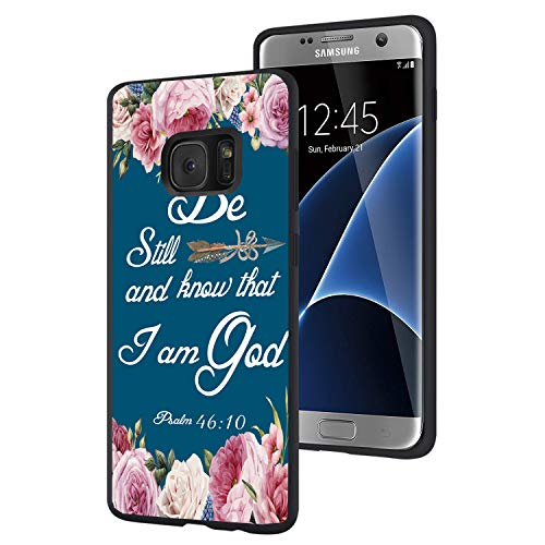 Galaxy S7 Edge Case,Christian Bible Verses Psalm 46:10 with Pink Flower Slim Anti-Scratch Shockproof Leather Soft TPU Back Protective Cover Case for Samsung Galaxy Edge