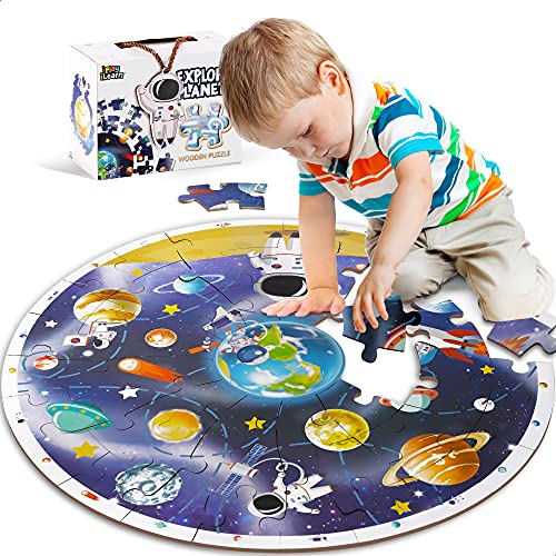 iPlay, iLearn Kids Puzzle Ages 4-8, Wooden Solar System Floor Puzzles Ages 3-5, Large Round Space Planets Jigsaw Puzzle Toys, Educational Learning Gifts for 6 7 8 Year Old Toddlers Boys Girls Children