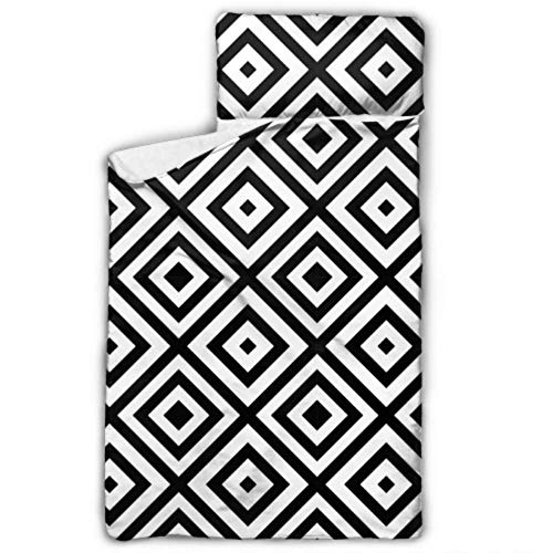 Black White Diamond Shape Ornament Daycare Cot Mat Daycare Cot Bedding With Blanket And Pillow Rollup Design Great For Preschool Daycare Sleepovers 50'x20'