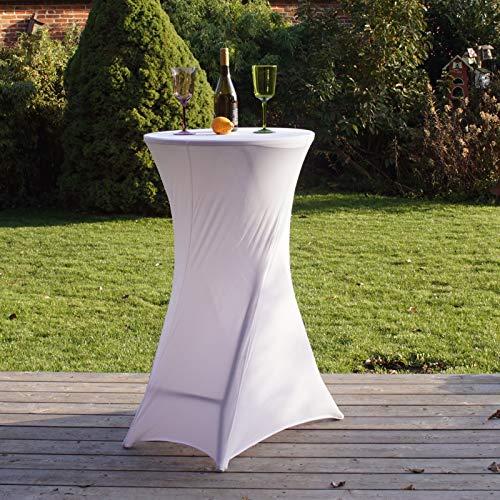 Partytisch mit Husse Bistrotisch Stehtisch Klapptisch Biertisch weiß Ø 60cm / Höhe ca.110 cm klappbar Baumarktplus wetterfest