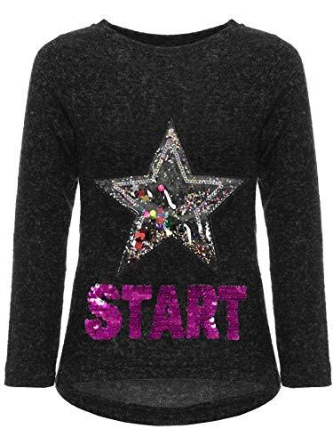 BEZLIT Kinder Mädchen Pullover Sweatshirt Pulli Wende-Pailletten Sweater Langarm-Shirt 30015 Schwarz 104