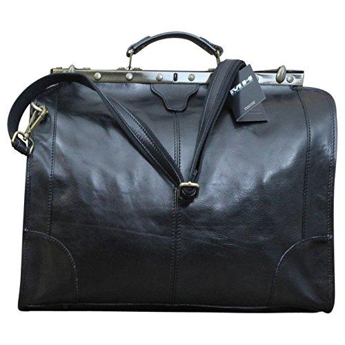 Made In Italy Reisetasche Vintage Traveller Serie Arzttasche Hebammentasche Bag Echt Leder Braun, Farbe:Schwarz