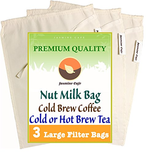 3 Pack Large 11x8 Organic Cotton Nut Milk Bag Cold Brew Coffee - Great Strainer for Coffee Tea Nut Milk - Reusable Eco-Friendly - 100 Safe to Use - Good for Commercial and Household