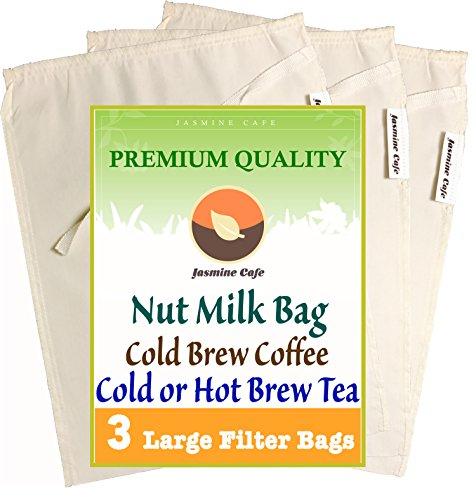3 Pack (Large 11'x8') Organic Cotton Nut Milk Bag & Cold...