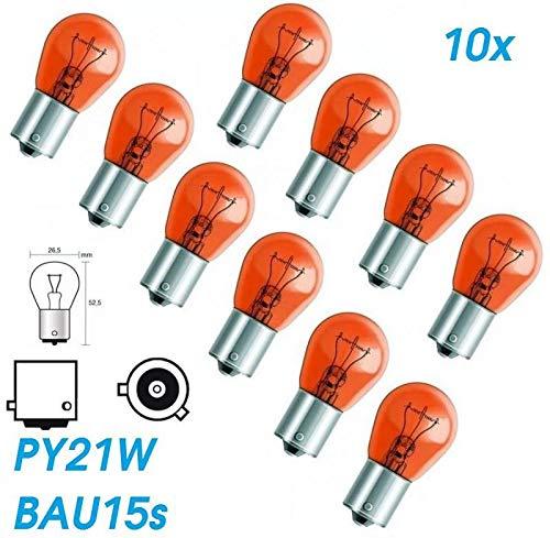 10x Stück – PY21W - BAU15s - 12V - 21W - AMBER/ORANG KFZ Beleuchtung - Glühlampe (versetzte Pins) Kugellampe Blinklicht Blinkerlampe Blinkerbirne Glühbirne Soffitte Autolampen/chiavi