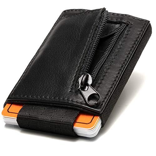 Fa.Volmer® zwarte mini-portemonnee voor heren en dames van echt leer met textiel-koord, kaarthouder met muntvak, portemonnee #VO26-BLK-Jens