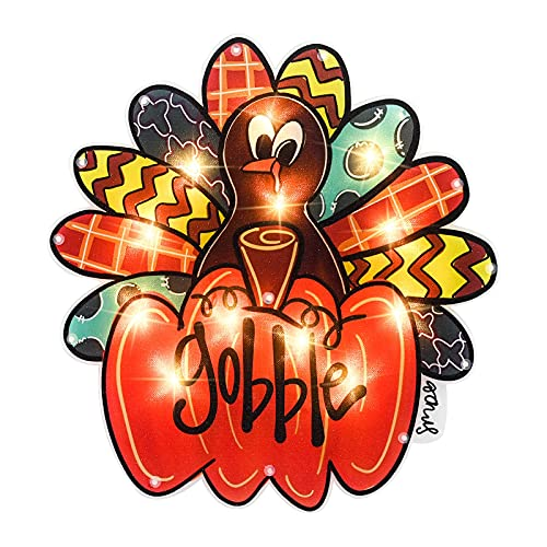 ALLADINBOX 14x15 Inch Thanksgiving Decorations 12 LEDs Lighted Window Silhouette - Turkey Standing on Pumpkin with Gobble Letterings - Hanging/Tabletop Light Up Holiday Ornament (2AA not Included)