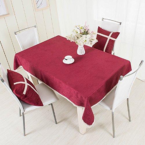 LD&P Nouvelle Dentelle épaisse Nappe Anti-poussière Table Basse Table à Manger Nappe de Mariage, Restaurant ou Nappe de Pique-Nique Rouge,Red,130 * 130cm