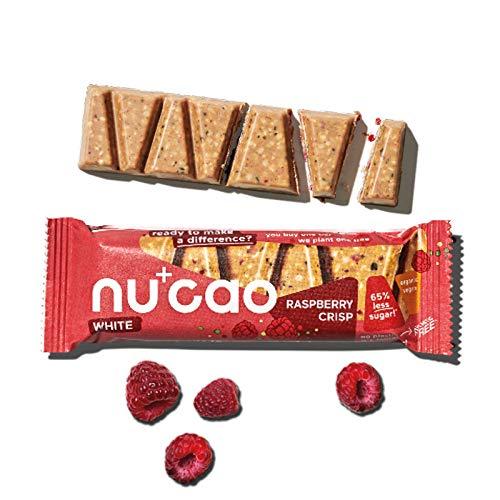 nucao white -Raspberry Crisp- Vegane Weiße Choc mit Bio Nährstoffkick aus crunchy Hanfsamen & cremiger Tigernuss [Nachhaltig Plastikfrei] 12-Pack, 480g