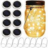 mason jar - lanterne a energia solare, confezione da 8, 10 led a forma di stella, con coperchi per barattoli, 8 ganci inclusi (senza barattolo), per matrimoni, patio, giardino, lanterne da tavolo