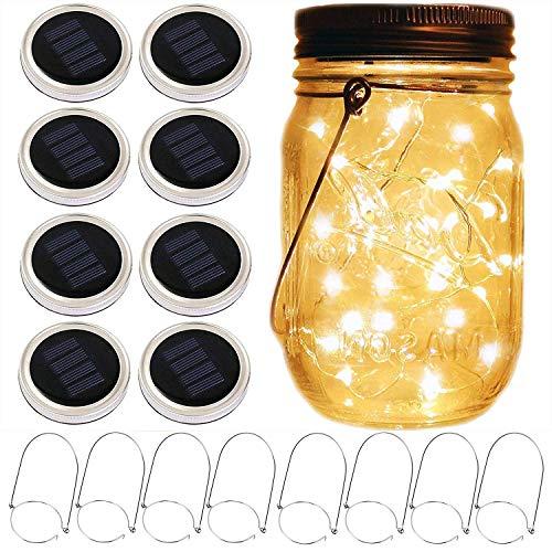 Mason Jar Solar-Laternenlichter, 8 Stück, 10 LEDs, Feenstern, Glühwürmchen, Solardeckel, 8 Aufhänger enthalten (keine Gläser), für Einmachglas, Hochzeit, Terrasse, Garten, Laternen, Tischdekoration