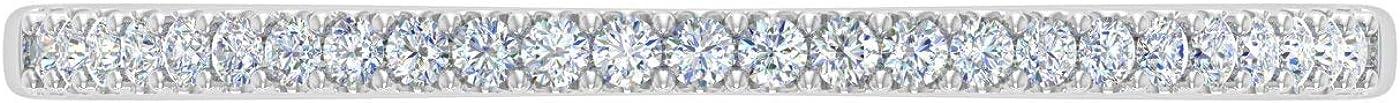 0.08 Carat (ctw) 10K Gold Round White Diamond Ladies Dainty Anniversary Wedding Stackable Ring