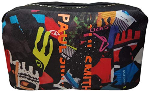 Paul Smith - Neceser con Estampado de Guantes de Ciclismo, Color Negro