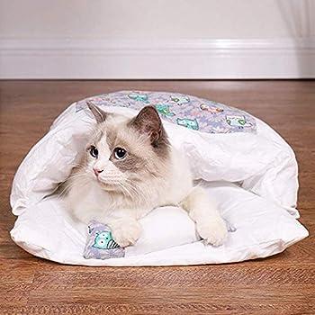 TAMRG lit pour Chat Panier Chat Sac de Couchage Chat avec Petit Oreiller Couchage et mobilier pour Chats lit Chat Couchage et mobilier (H, S)