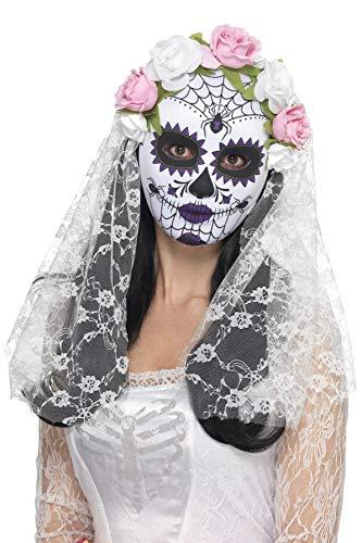 Smiffys Masque mariée Jour des morts, recouvre le visage, Blanc, avec roses et voile