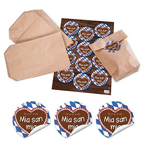 12 braune Papier-Tüten mit Boden 14 x 22 x 5,6 cm + 12 weiß blau karierte Bayern Lebkuchenherz Aufkleber Sticker 6 cm MIA SAN MIA Geschenktüte bayerisch Oktoberfest Souvenir Verpackung