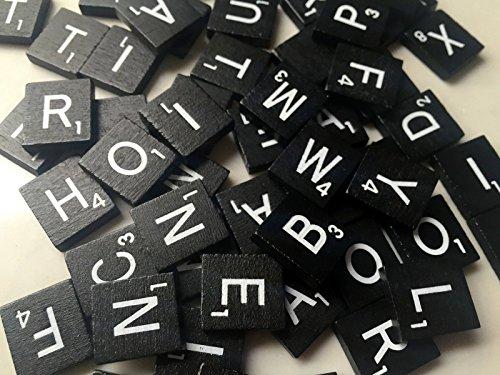 Black Wood Scrabble Tiles Set 100 Tiles ~ Game Replacement, Scrapbooking, Crafts, Messages, Etc.