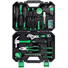 🔨【Home Repair Tool Set】 Cr-V material: provide stronger toughness and hardness. Plating surface: increase ability of anti-corrosion. Great durability: after 500 times of opening and closing function tests, the latches still work well.All tools meet o...