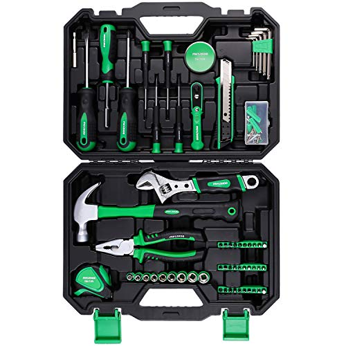 METAKOO 100-Piece Tool Kit For Home, Home Repair Tool Set with Plastic Toolbox Storage Case, General Purpose Tool Set Including Screwdrivers, Sockets, Wrenches, Hammers, Pliers, Hex Keys, Tape Measure